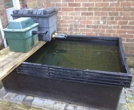free standing fish pond and equipment