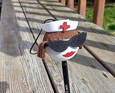 NURSE WITH SUNGLASSES CAR ANTENNA  BALL  - BRUNETTE NURSE Antenna - Brunette With Sunglasses