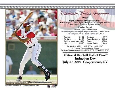 Vladimir Guerrero Los Angeles Angels 8X10 2018 Hall Of Fame Induction Day Card