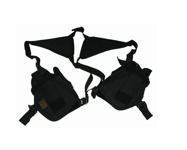 BLACK DOUBLE DELUXE 2 SHOULDER HOLSTER for PISTOL GUN RIG re