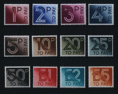 GB 1982 COMPLETE SET (12) POSTAGE DUE TO PAY LABEL STAMPS SG D90 - D101 UM/MNH