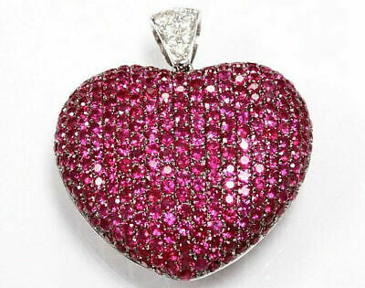 Gold Round Ruby Heart (3ct Round Cut Red Ruby & Diamond 14k White Gold Over Women's Heart Pendant )