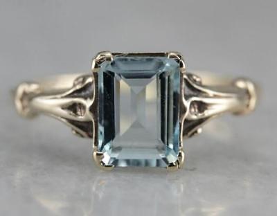 Aquamarine Jewelry - Vintage 925 Silver Aquamarine Gem Engagement Wedding Ring Wholesale Size 6-10