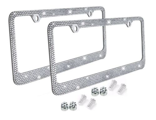 Metal License Plate Frame Bling RhineStone Chrome Crystal Diamond Glitter 2pc -D