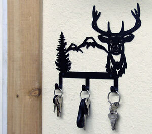 key holder wildlife metal art hunting cabin rustic lodge wall decor