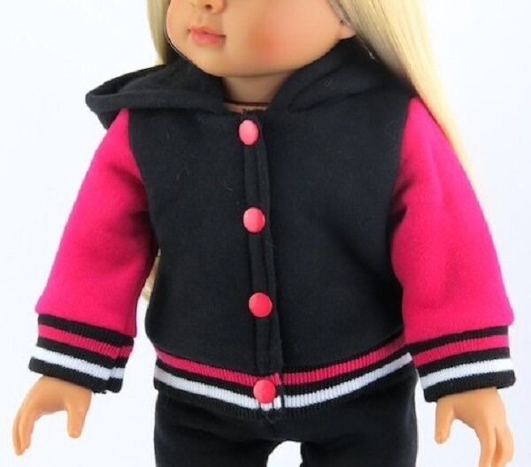 "Lovvbugg Varsity Black Pink Pants Jacket for 18"" American Girl Doll Clothes"