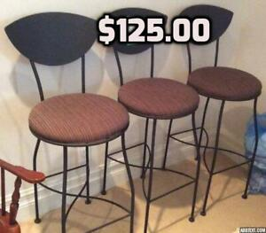 3 Wrought Iron Bar Stools