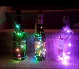 3wine bottle lights £4 each £10 for all 3