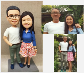 Custom Handmade Your 3D Minime Art Doll happy couples anniversary