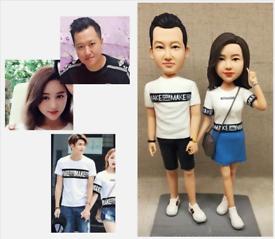Custom Handmade Your 3D Minime Art Doll holding hands couples