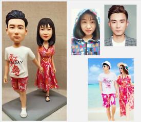 Custom Handmade Your 3D Minime Art Doll beach couples