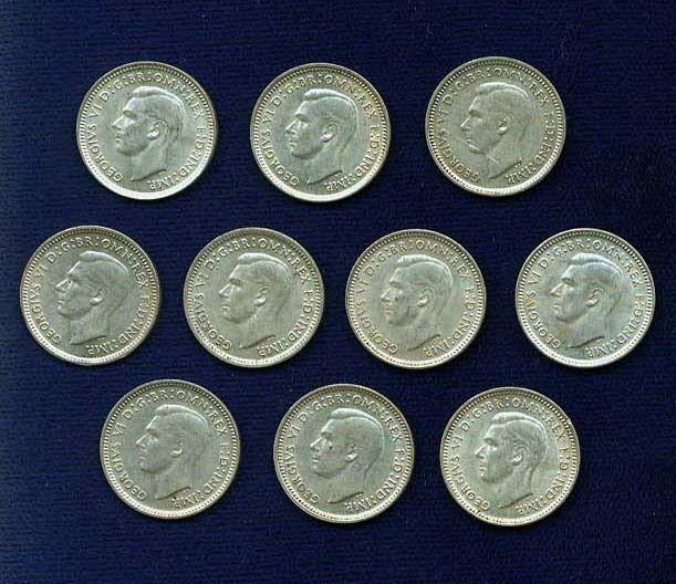 AUSTRALIA GEORGE VI  1943-D   3 PENCE  SILVER COINS, GROUP LOT!