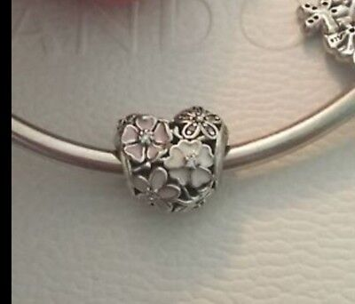 Genuine Pandora 1/2 PRICE SALE Poetic Blooms Heart Charm 791825ENMX