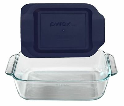 "Pyrex 8"" Square Baking Dish Storage Container with Blue Plastic Lid"