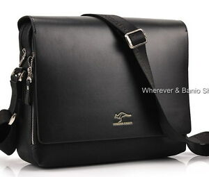 Authentic-kangaroo-kingdom-Mens-Genuine-Leather-PU-Shoulder-bag-Black-M168B