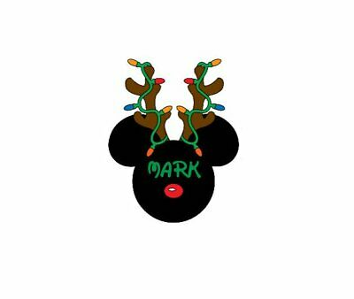 DISNEY MICKEY MOUSE CHRISTMAS ANTLERS PERSONALIZED*****T-SHIRT IRON ON TRANSFER](Disney Christmas Shirts Personalized)