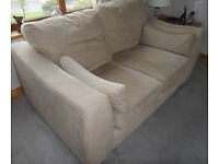 Beige 2 seater sofa; 3 seater sofa; matching cushions