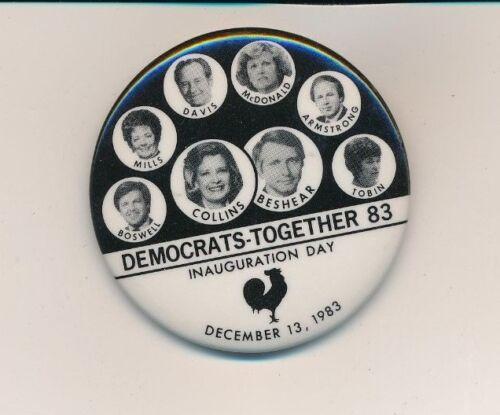 """1983 Collins for governor Inauguration 2 1/4"""" cello Kentucky KY political button"""