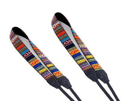 2 Packs Multi Color Vintage Camera Shoulder Neck Strap 4 Nikon D7100 D7000 D5200