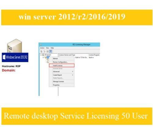 RDS REMOTE DESKTOP SERVICES LICENSING 50 USER CALS FOR SERVER 2012/R2/2016/2019