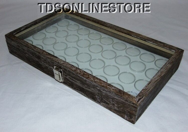 Rustic Antique Coffee Color Glass Top Display Case With 36 Gem Jars Wht
