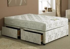 BRAND NEW -- DOUBLE DIVAN BED BASE WITH SUPER ORTHOPEDIC MATTRESS