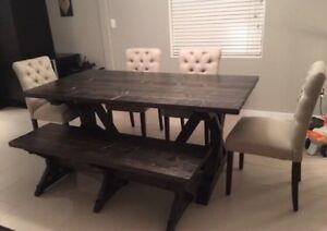 Dining table & matching bench