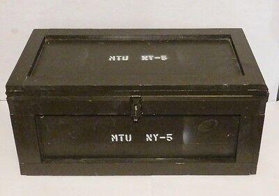 Vintage Military Wooden Trunk Foot Locker Ammo Case Furniture Home Decor Storage