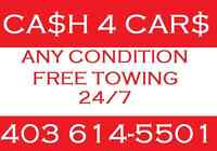 FREE JUNK CAR REMOVAL $CASH$ TOWING CALL 403 614 5501
