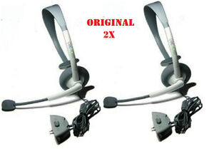 2X ORIGINAL XBOX 360 LIVE OFFICIAL HEADSET WITH MICROPHONE