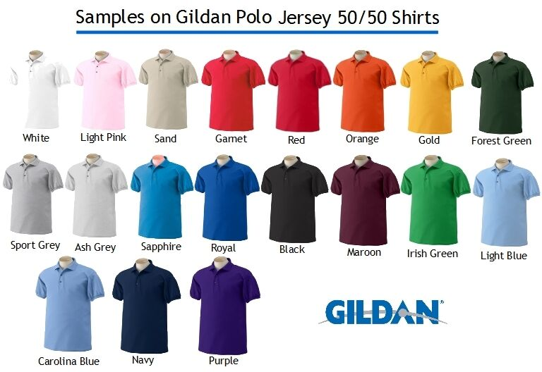 24 Custom Logo Embroidered Gildan Dry Blend Jersey Polo Shirt Personalized Shirt