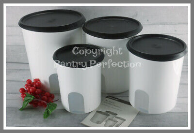 Brand New TUPPERWARE One Touch® Vintage Window Canister Set Black FREE Scoop