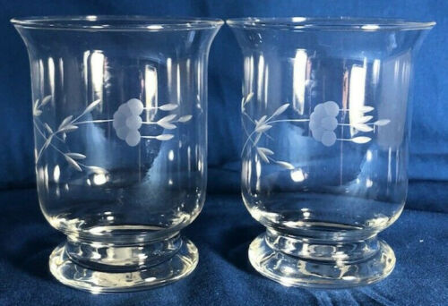 NEW IN BOX 2 PRINCESS HOUSE # 690 CRYSTAL HERITAGE VOTIVE GLASS CANDLE HOLDERS