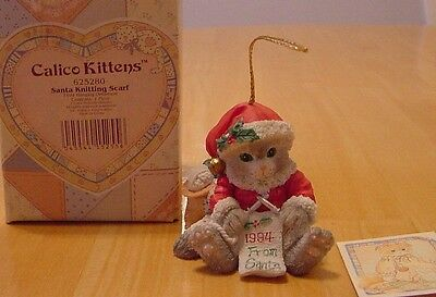 Calico Kittens Santa Cat Knitting Scarf  Dated 1994 Christmas Ornament 625280