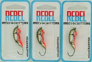(3) Rebel Lures MicroCritters Micro Crawfish Baits F5860