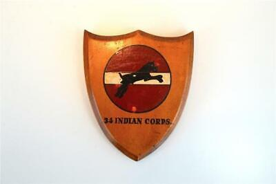Vintage 34 Indian Corps armorial crest shield wall plaque wooden plaque