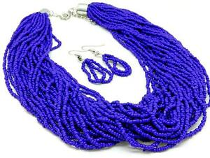 MULTI STRAND ROYAL BLUE GLASS SEED BEAD NECKLACE EARRING