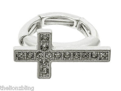 Urban Hip Hop Silver Cross With Crystal Bling Stretch Ring