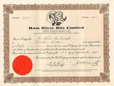 Ram River Oil Edmonton Alberta Canada stock certificate
