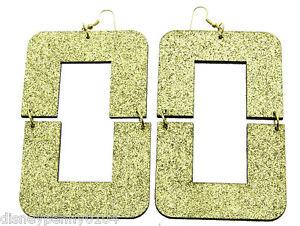 Basketball Wives Evelyn Glitter Square Gold-Lightweight Earrings-4