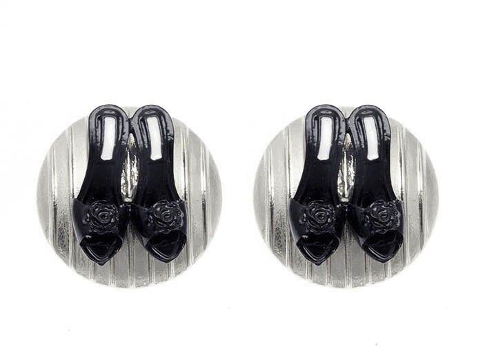Silver Black Raised Shoe Earrings Slip On Heel Shoe Earrings Gold Earrings 1'