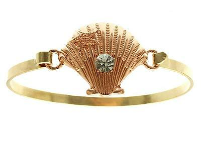 Gold Scallop Shell Bracelet - Rose Gold Starfish Scallop Shell Sea Life Bracelet Plated Nautical Island 8.5