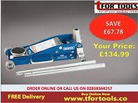 Draper 31479 2.5 tonne Aluminium Trolley Jack Quick Lift Low Entry 102-465mm