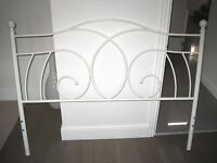 """4'6"""" Metal Bed Frame in Cream"""