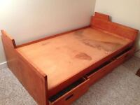 Twin sized, wooden Captain's bed frame