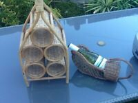 rare vintage wicker portable wine rack and pourer ideal for outdoor dining
