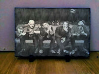 Coldplay Chris Martin Sketch Art on Traditional Rock Slate