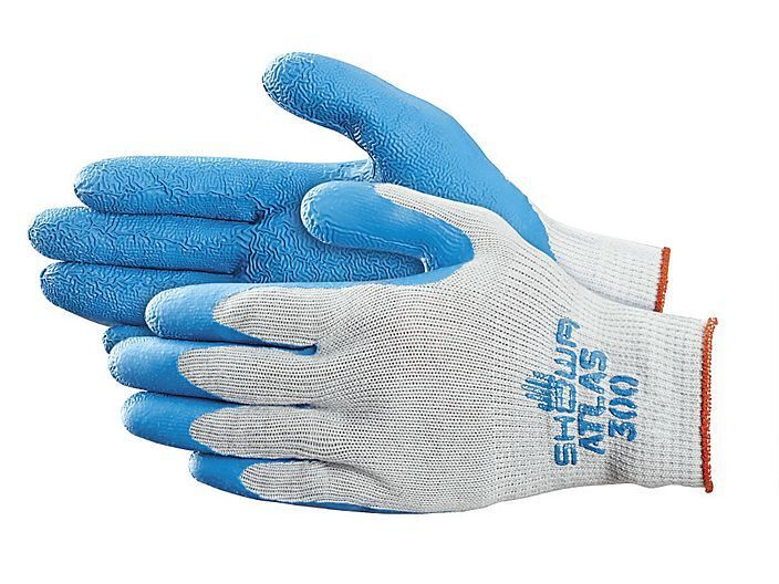 SHOWA ATLAS FIT 300  RUBBER PALM BLUE  WORK GLOVES  SIZES