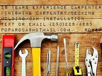 Finishing carpentry, molding, decking