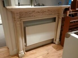 very large and ornate period wooden fire surround